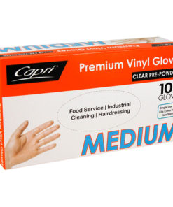 Capri vinyl clear powdered gloves