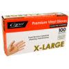 Capri clear vinyl powdered gloves XL